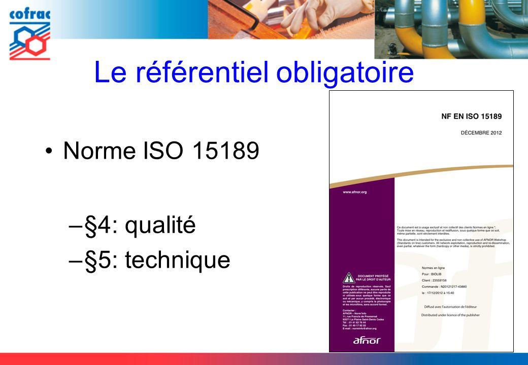 Le référentiel obligatoire Norme ISO 15189 –§4: qualité –§5: technique 3