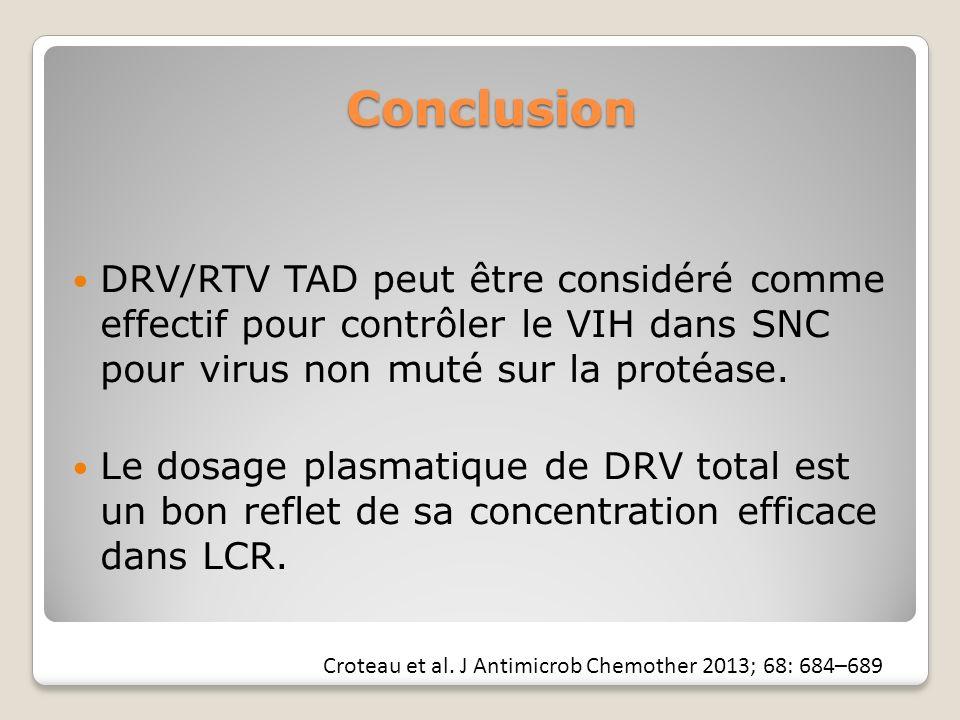 Conclusion DRV/RTV TAD peut être considéré comme effectif pour contrôler le VIH dans SNC pour virus non muté sur la protéase.