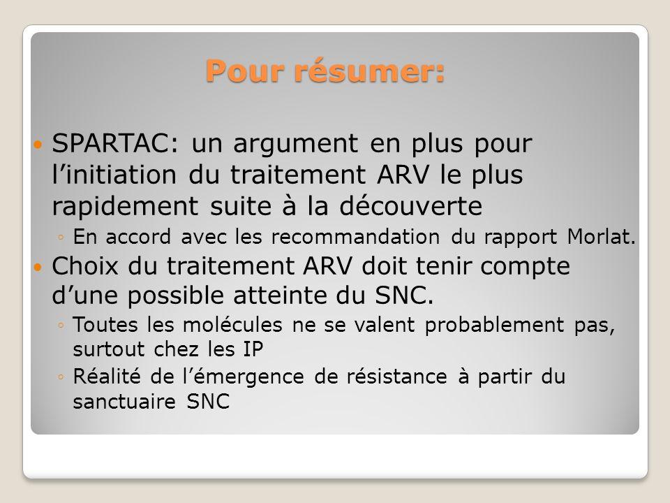 Pour résumer: SPARTAC: un argument en plus pour linitiation du traitement ARV le plus rapidement suite à la découverte En accord avec les recommandation du rapport Morlat.