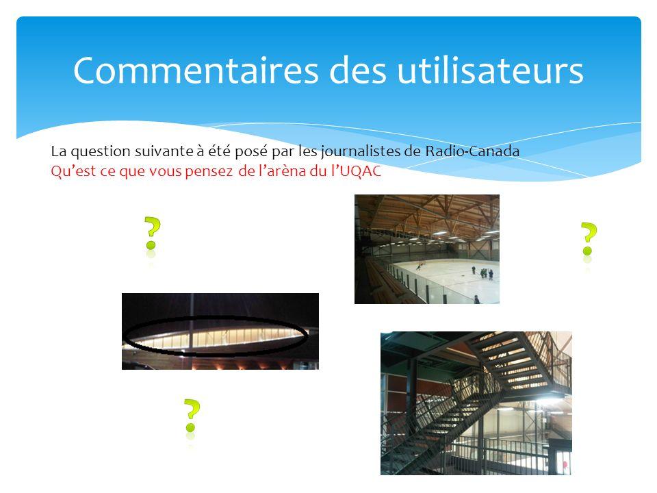 Commentaires des utilisateurs La question suivante à été posé par les journalistes de Radio-Canada Quest ce que vous pensez de larèna du lUQAC