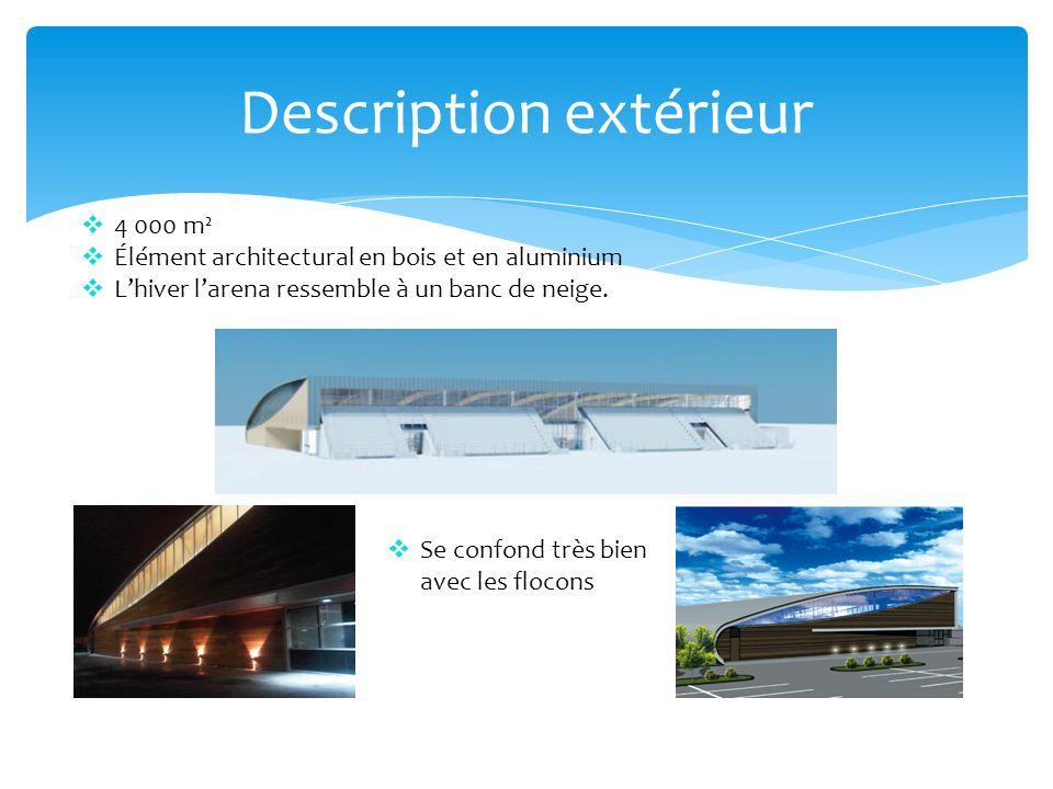 Description extérieur 4 000 m² Élément architectural en bois et en aluminium Lhiver larena ressemble à un banc de neige. Se confond très bien avec les
