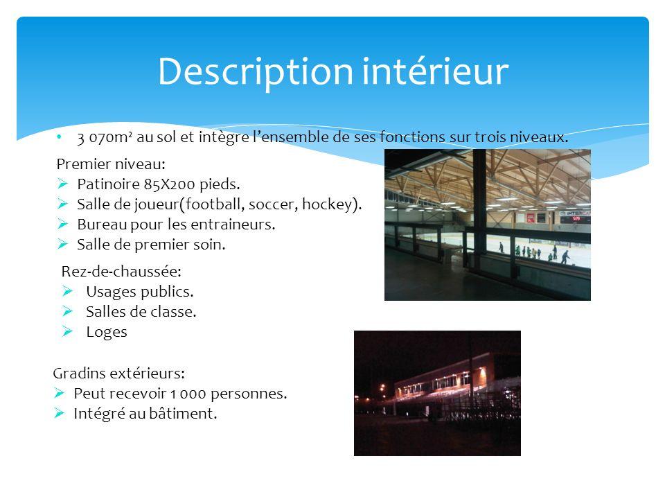 Description intérieur 3 070m² au sol et intègre lensemble de ses fonctions sur trois niveaux. Premier niveau: Patinoire 85X200 pieds. Salle de joueur(
