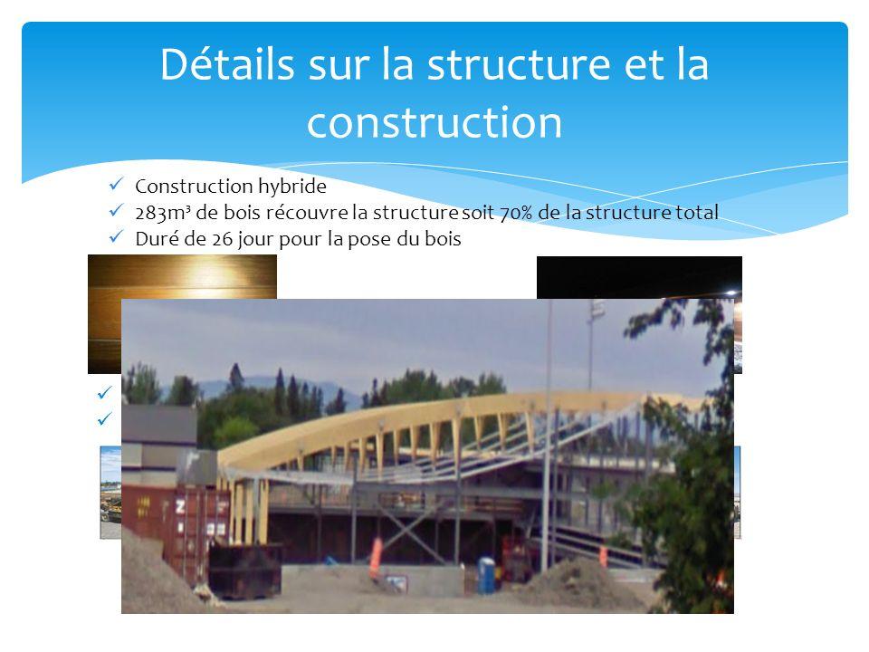 Détails sur la structure et la construction Construction hybride 283m³ de bois récouvre la structure soit 70% de la structure total Duré de 26 jour pour la pose du bois Lacier représente 30% de la structure Duré de 42 jours pour la pose de lacier