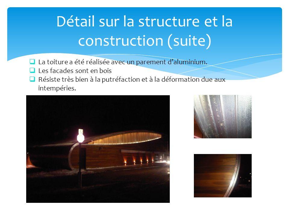 Détail sur la structure et la construction (suite) La toiture a été réalisée avec un parement daluminium. Les facades sont en bois Résiste très bien à