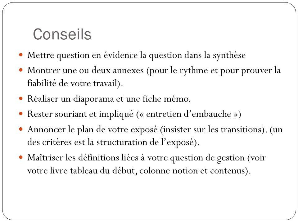 Conseils Mettre question en évidence la question dans la synthèse Montrer une ou deux annexes (pour le rythme et pour prouver la fiabilité de votre tr