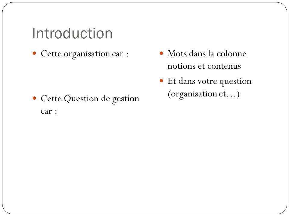 Introduction Cette organisation car : Cette Question de gestion car : Mots dans la colonne notions et contenus Et dans votre question (organisation et
