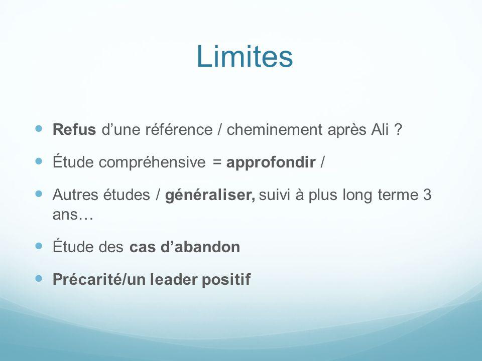 Limites Refus dune référence / cheminement après Ali ? Étude compréhensive = approfondir / Autres études / généraliser, suivi à plus long terme 3 ans…