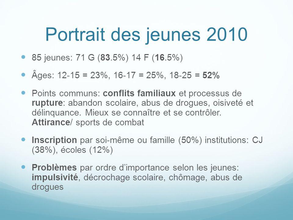 Portrait des jeunes 2010 85 jeunes: 71 G (83.5%) 14 F (16.5%) Âges: 12-15 = 23%, 16-17 = 25%, 18-25 = 52% Points communs: conflits familiaux et processus de rupture: abandon scolaire, abus de drogues, oisiveté et délinquance.