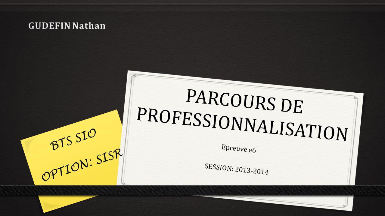 PARCOURS DE PROFESSIONNALISATION Epreuve e6 SESSION: 2013-2014 BTS SIO OPTION: SISR