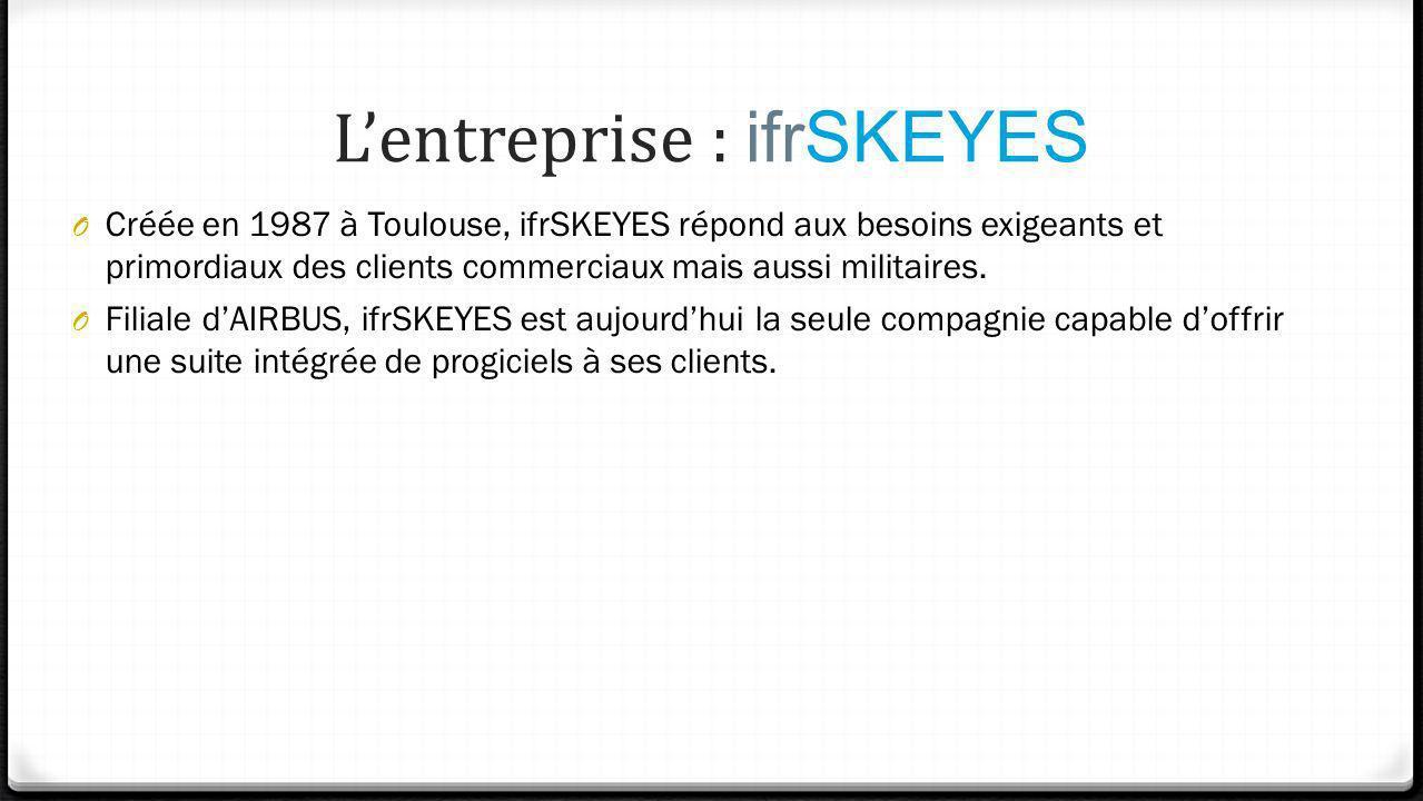 Lentreprise : ifrSKEYES O Créée en 1987 à Toulouse, ifrSKEYES répond aux besoins exigeants et primordiaux des clients commerciaux mais aussi militaire