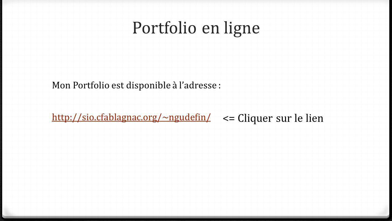Portfolio en ligne Mon Portfolio est disponible à ladresse : http://sio.cfablagnac.org/~ngudefin/ <= Cliquer sur le lien