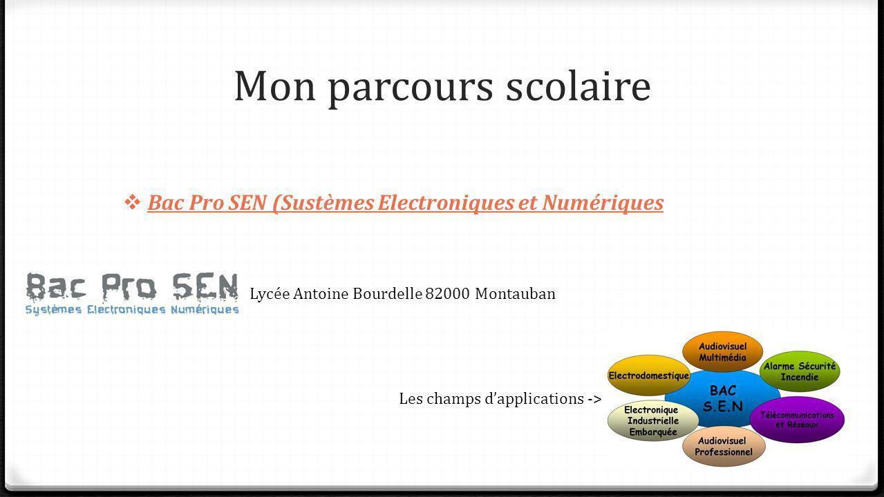Mon parcours scolaire Bac Pro SEN (Sustèmes Electroniques et Numériques Lycée Antoine Bourdelle 82000 Montauban Les champs dapplications ->