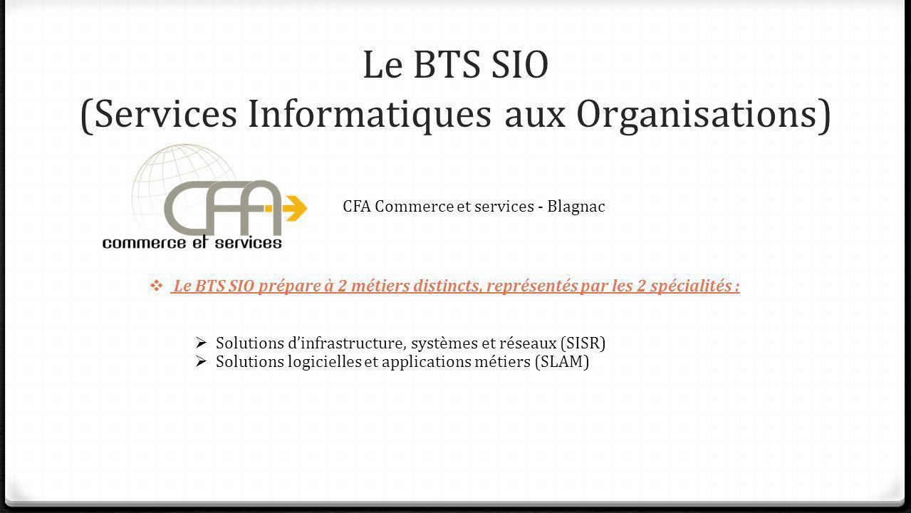 Le BTS SIO (Services Informatiques aux Organisations) CFA Commerce et services - Blagnac Le BTS SIO prépare à 2 métiers distincts, représentés par les