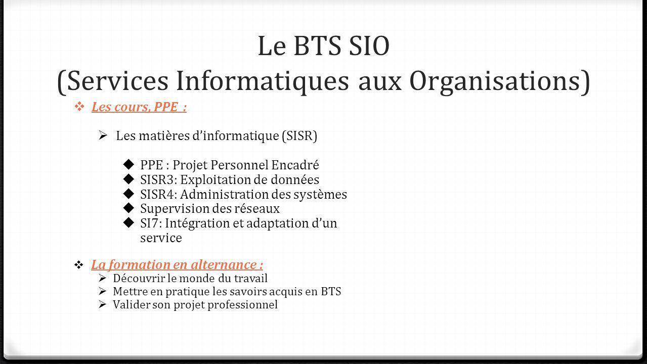 Le BTS SIO (Services Informatiques aux Organisations) Les cours, PPE : Les matières dinformatique (SISR) PPE : Projet Personnel Encadré SISR3: Exploit