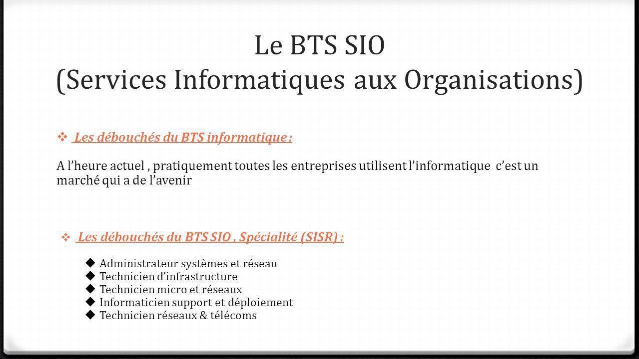 Le BTS SIO (Services Informatiques aux Organisations) Les débouchés du BTS informatique : A lheure actuel, pratiquement toutes les entreprises utilise