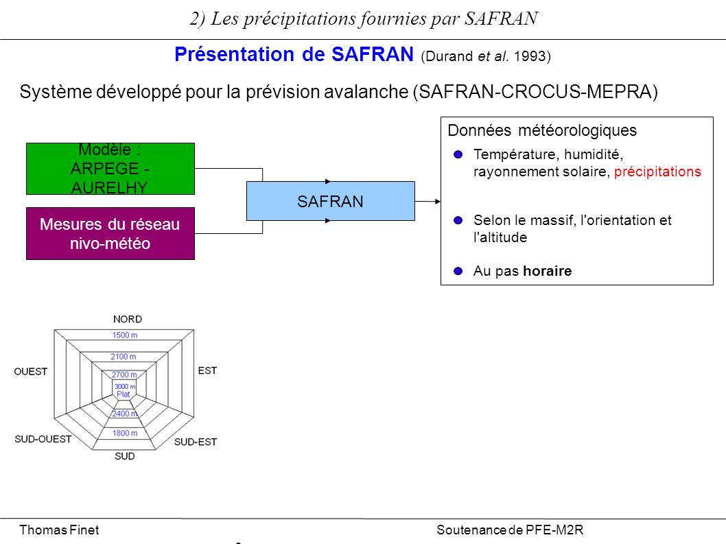 2) Les précipitations fournies par SAFRAN Présentation de SAFRAN (Durand et al. 1993) Modèle : ARPEGE - AURELHY Mesures du réseau nivo-météo SAFRAN Do