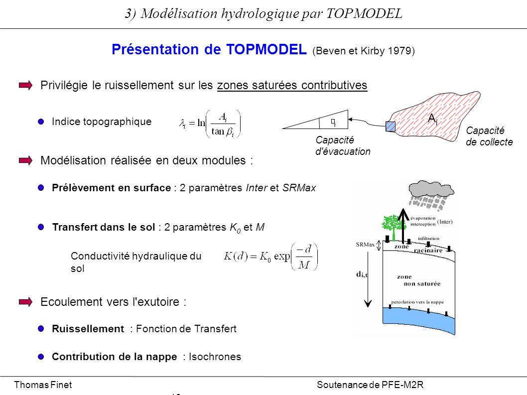 Thomas Finet Soutenance de PFE-M2R 10 3) Modélisation hydrologique par TOPMODEL Présentation de TOPMODEL (Beven et Kirby 1979) Privilégie le ruisselle