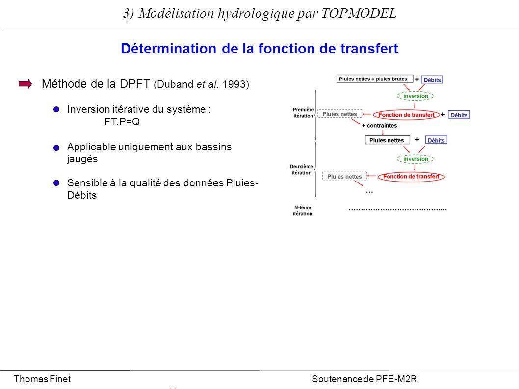 Thomas Finet Soutenance de PFE-M2R 11 3) Modélisation hydrologique par TOPMODEL Détermination de la fonction de transfert Méthode de la DPFT (Duband e