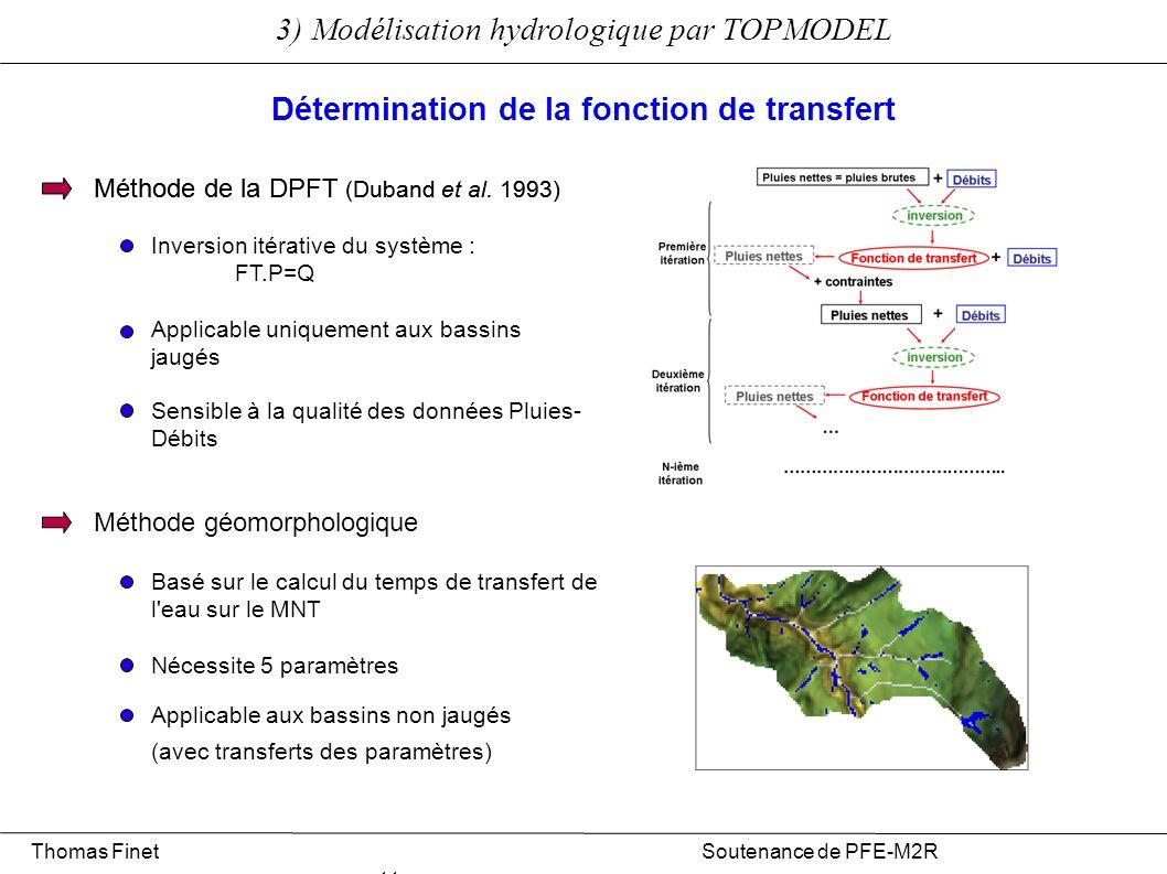 Thomas Finet Soutenance de PFE-M2R 11 3) Modélisation hydrologique par TOPMODEL Détermination de la fonction de transfert Méthode géomorphologique Mét