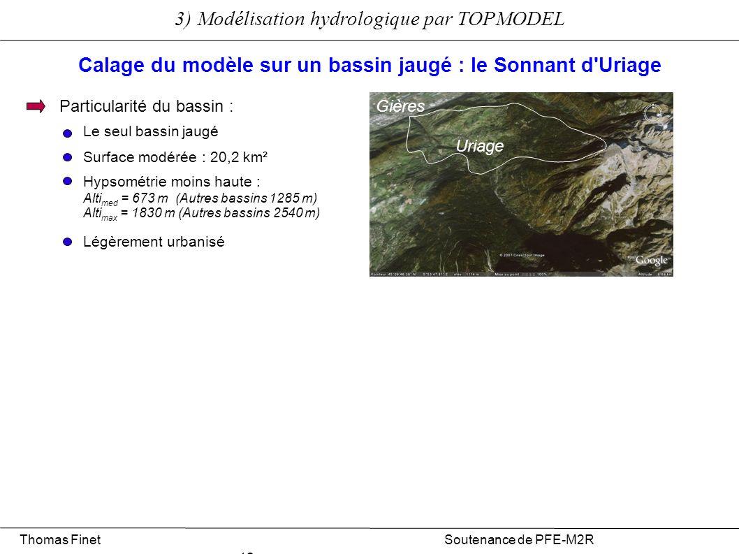 3) Modélisation hydrologique par TOPMODEL Thomas Finet Soutenance de PFE-M2R 12 Calage du modèle sur un bassin jaugé : le Sonnant d'Uriage Particulari