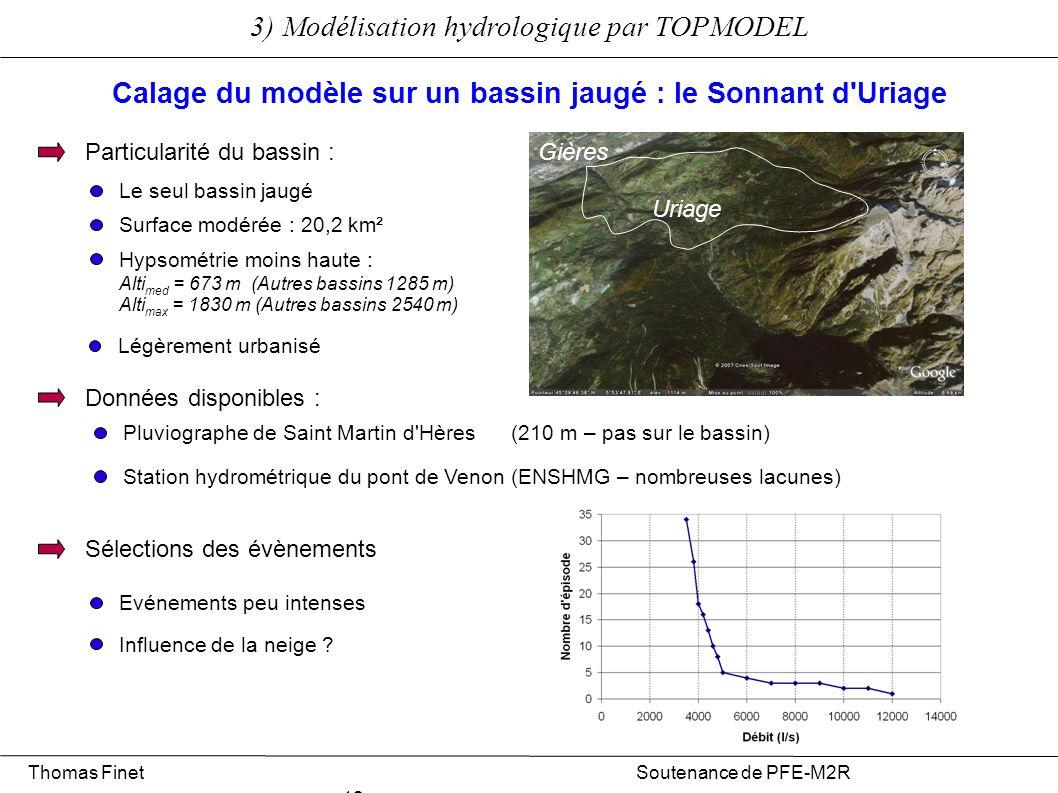 3) Modélisation hydrologique par TOPMODEL Thomas Finet Soutenance de PFE-M2R 12 Particularité du bassin : Surface modérée : 20,2 km² Hypsométrie moins