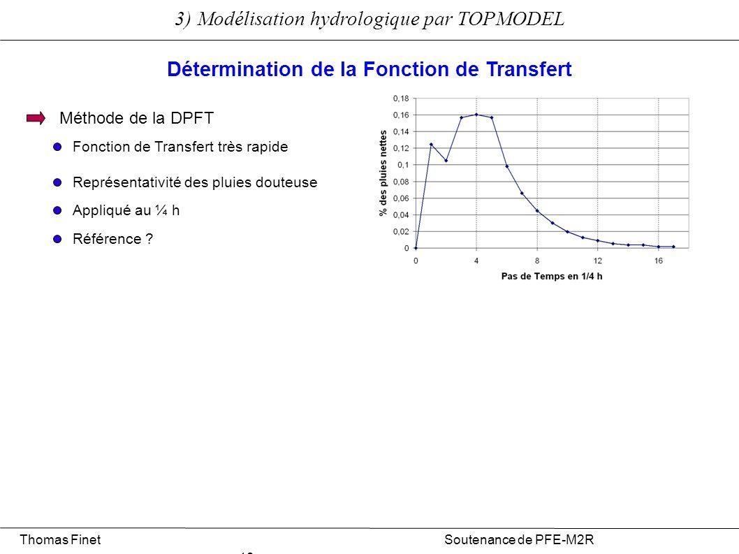 3) Modélisation hydrologique par TOPMODEL Thomas Finet Soutenance de PFE-M2R 13 Détermination de la Fonction de Transfert Méthode de la DPFT Représent