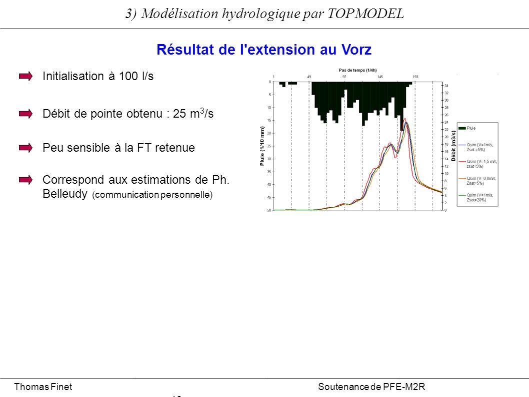 3) Modélisation hydrologique par TOPMODEL Thomas Finet Soutenance de PFE-M2R 16 Résultat de l'extension au Vorz Débit de pointe obtenu : 25 m 3 /s Peu