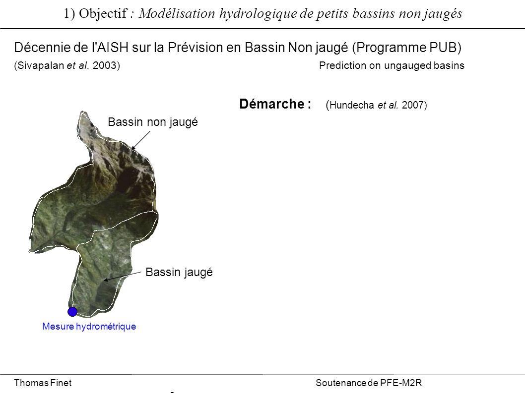 Pluviographes METEO FRANCE Pluviographes EDF Pluviographe LTHE 1) Objectif : Modélisation hydrologique de petits bassins non jaugés Zone approximative de représentativité des données pluies à pas de temps court (1/4h) Thomas Finet Soutenance de PFE-M2R 5 Réseau de mesure hydrométéorologique sur le massif de Belledonne Limnigraphe LTHE