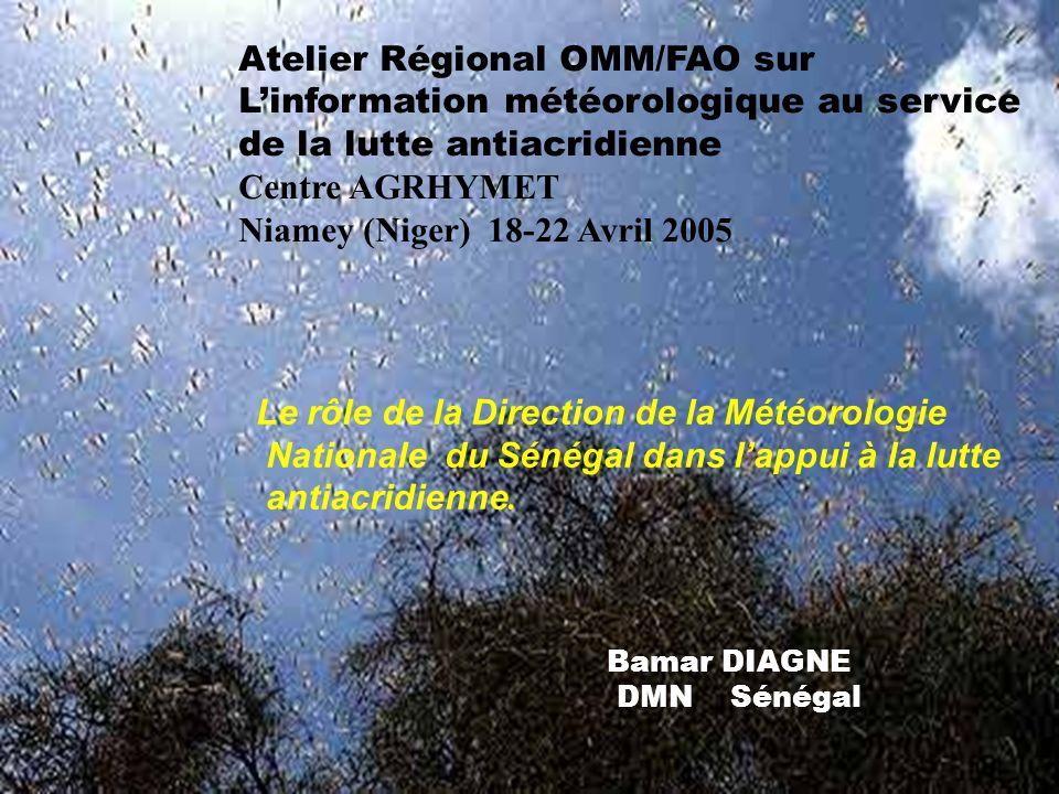 Atelier Régional OMM/FAO sur Linformation météorologique au service de la lutte antiacridienne Centre AGRHYMET Niamey (Niger) 18-22 Avril 2005 Le rôle de la Direction de la Météorologie Nationale du Sénégal dans lappui à la lutte antiacridienne.