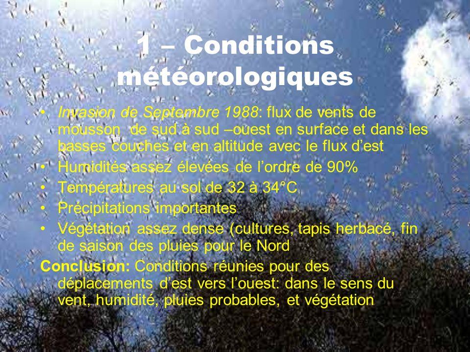 1 – Conditions météorologiques Invasion de Septembre 1988: flux de vents de mousson de sud à sud –ouest en surface et dans les basses couches et en altitude avec le flux dest Humidités assez élevées de lordre de 90% Températures au sol de 32 à 34°C Précipitations importantes Végétation assez dense (cultures, tapis herbacé, fin de saison des pluies pour le Nord Conclusion: Conditions réunies pour des déplacements dest vers louest: dans le sens du vent, humidité, pluies probables, et végétation