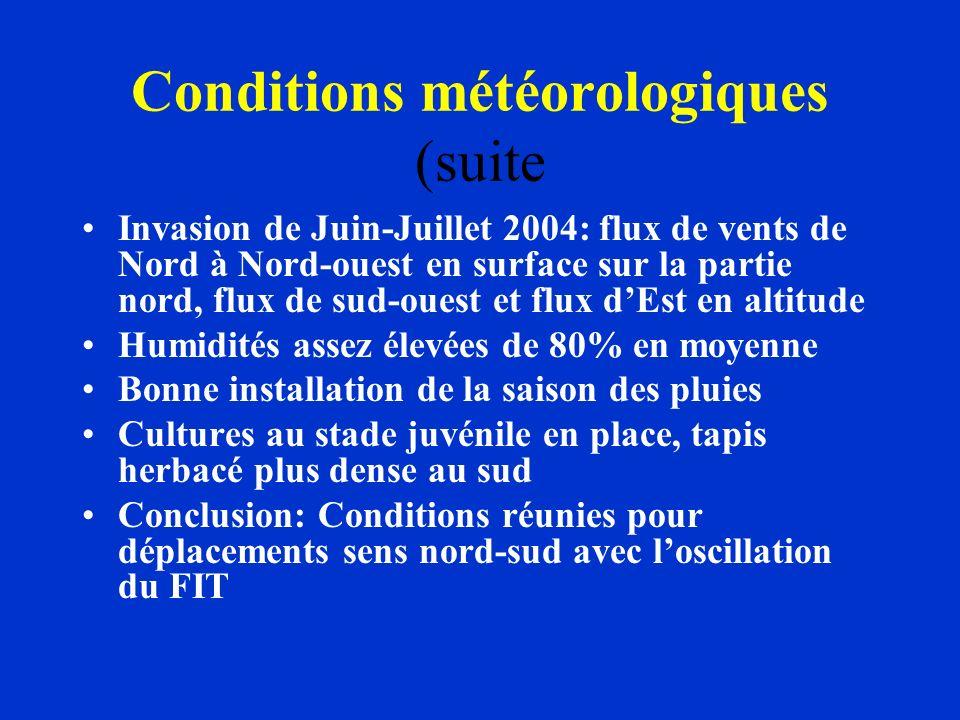 Conditions météorologiques (suite Invasion de Juin-Juillet 2004: flux de vents de Nord à Nord-ouest en surface sur la partie nord, flux de sud-ouest e