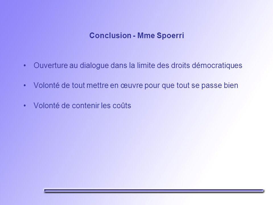 Conclusion - Mme Spoerri Ouverture au dialogue dans la limite des droits démocratiques Volonté de tout mettre en œuvre pour que tout se passe bien Volonté de contenir les coûts