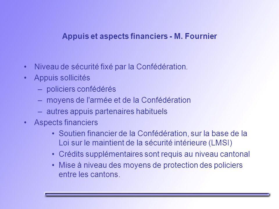 Appuis et aspects financiers - M. Fournier Niveau de sécurité fixé par la Confédération.