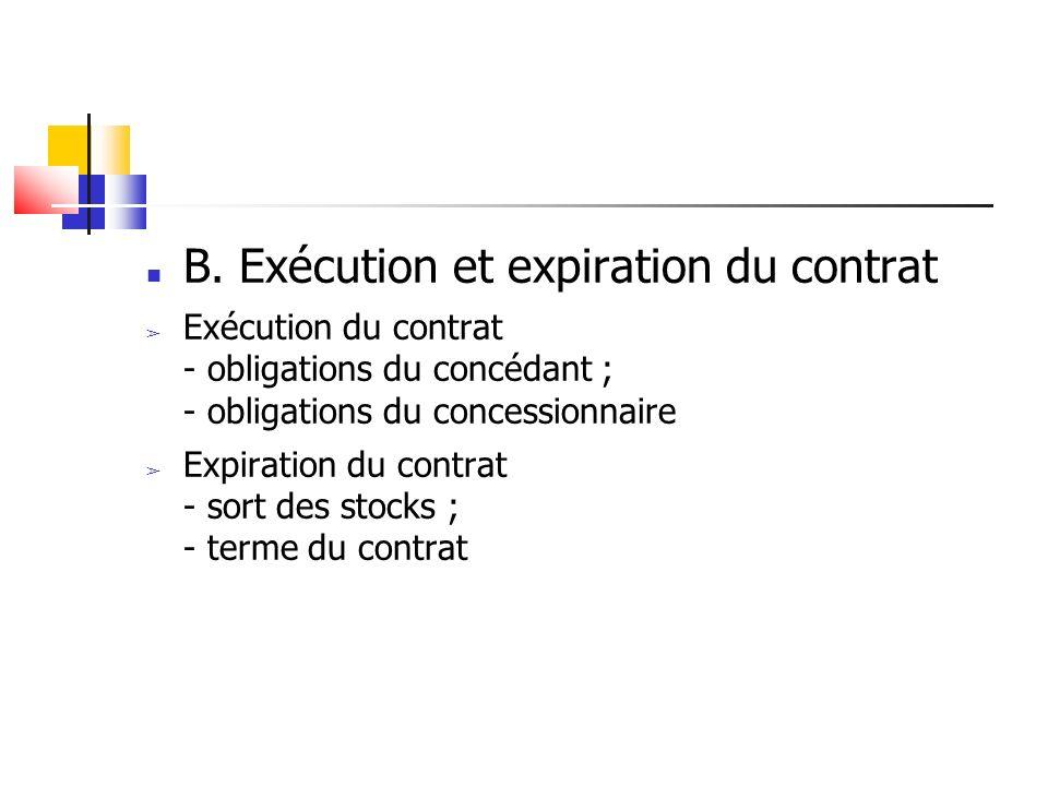 B. Exécution et expiration du contrat Exécution du contrat - obligations du concédant ; - obligations du concessionnaire Expiration du contrat - sort
