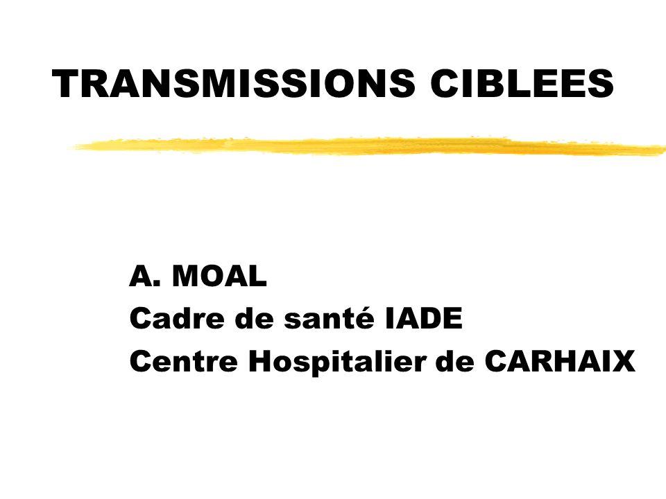 TRANSMISSIONS CIBLEES A. MOAL Cadre de santé IADE Centre Hospitalier de CARHAIX