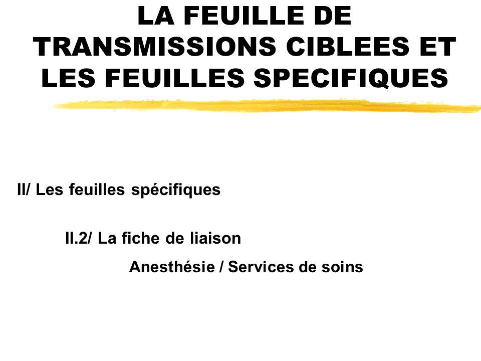 LA FEUILLE DE TRANSMISSIONS CIBLEES ET LES FEUILLES SPECIFIQUES II/ Les feuilles spécifiques II.2/ La fiche de liaison Anesthésie / Services de soins