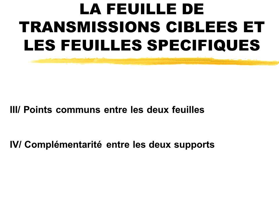 LA FEUILLE DE TRANSMISSIONS CIBLEES ET LES FEUILLES SPECIFIQUES III/ Points communs entre les deux feuilles IV/ Complémentarité entre les deux supports