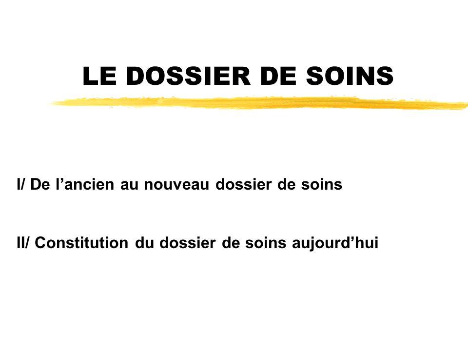 LE DOSSIER DE SOINS I/ De lancien au nouveau dossier de soins II/ Constitution du dossier de soins aujourdhui