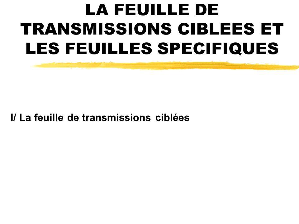 LA FEUILLE DE TRANSMISSIONS CIBLEES ET LES FEUILLES SPECIFIQUES I/ La feuille de transmissions ciblées