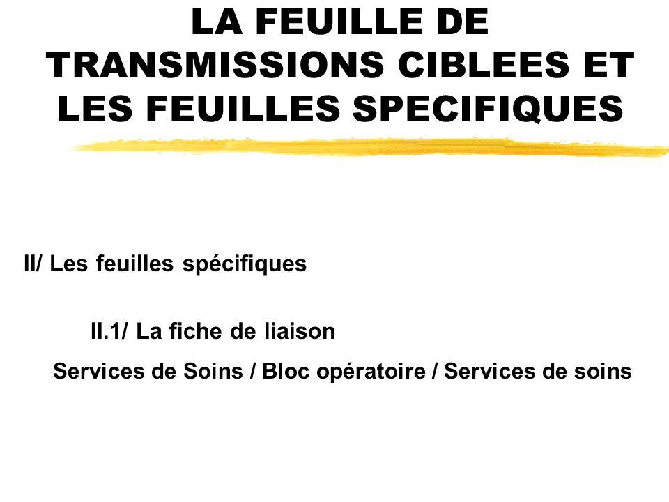 LA FEUILLE DE TRANSMISSIONS CIBLEES ET LES FEUILLES SPECIFIQUES II/ Les feuilles spécifiques II.1/ La fiche de liaison Services de Soins / Bloc opératoire / Services de soins