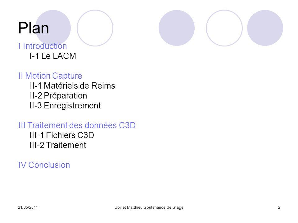 21/05/2014Boillet Matthieu Soutenance de Stage2 Plan I Introduction I-1 Le LACM II Motion Capture II-1 Matériels de Reims II-2 Préparation II-3 Enregi