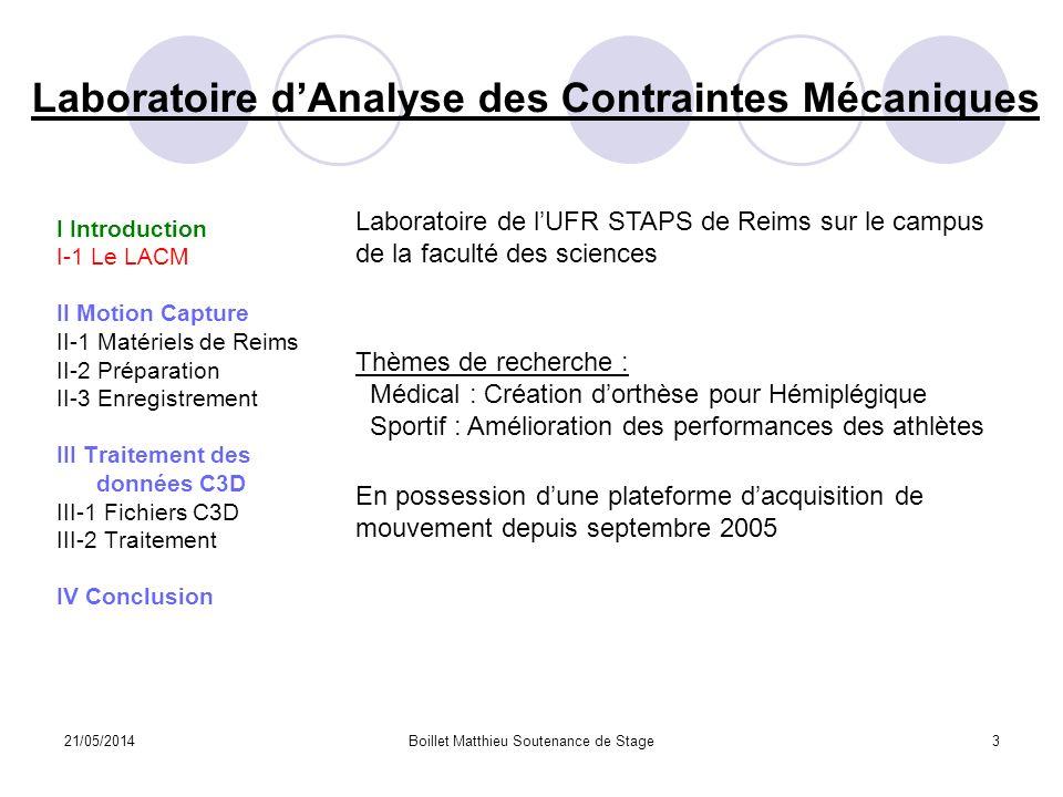 21/05/2014Boillet Matthieu Soutenance de Stage3 Laboratoire dAnalyse des Contraintes Mécaniques I Introduction I-1 Le LACM II Motion Capture II-1 Maté