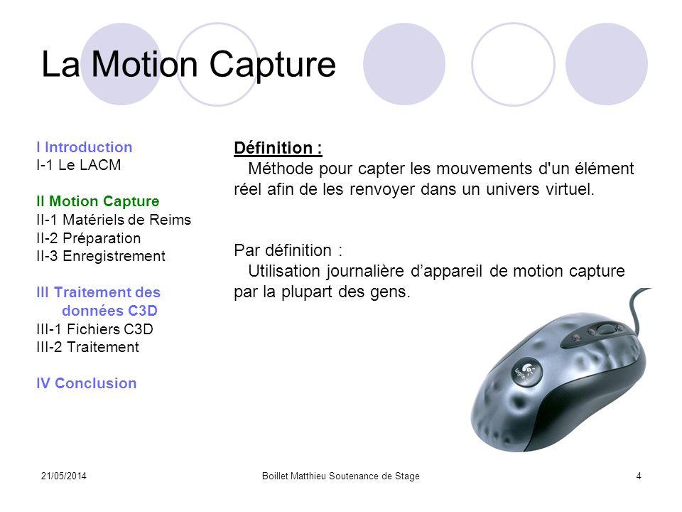 21/05/2014Boillet Matthieu Soutenance de Stage4 La Motion Capture I Introduction I-1 Le LACM II Motion Capture II-1 Matériels de Reims II-2 Préparatio