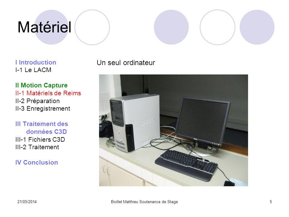 21/05/2014Boillet Matthieu Soutenance de Stage5 Matériel I Introduction I-1 Le LACM II Motion Capture II-1 Matériels de Reims II-2 Préparation II-3 En