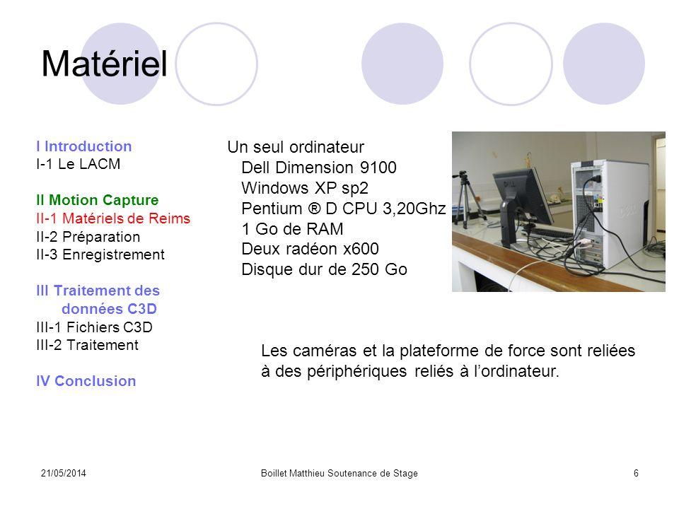 21/05/2014Boillet Matthieu Soutenance de Stage6 Matériel I Introduction I-1 Le LACM II Motion Capture II-1 Matériels de Reims II-2 Préparation II-3 En