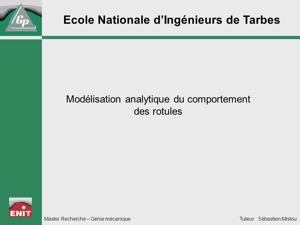 Ecole Nationale dIngénieurs de Tarbes Modélisation analytique du comportement des rotules Master Recherche – Génie mécanique Tuteur : Sébastien Mistou