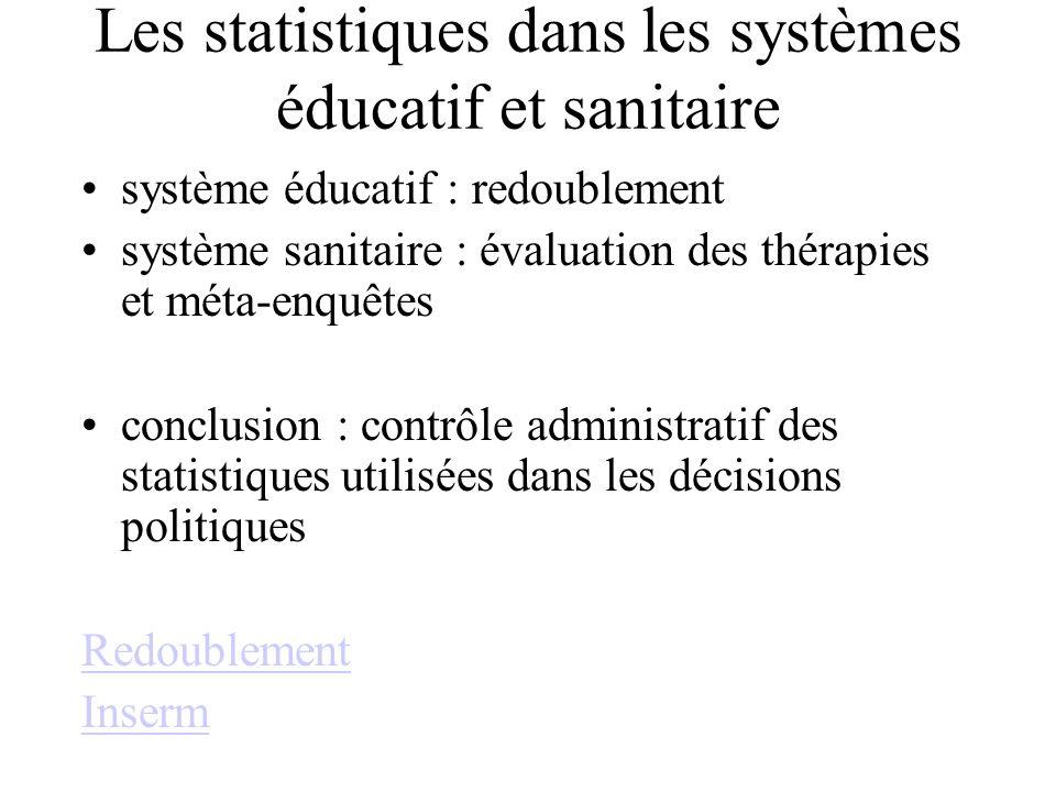 Les statistiques dans les systèmes éducatif et sanitaire système éducatif : redoublement système sanitaire : évaluation des thérapies et méta-enquêtes conclusion : contrôle administratif des statistiques utilisées dans les décisions politiques Redoublement Inserm