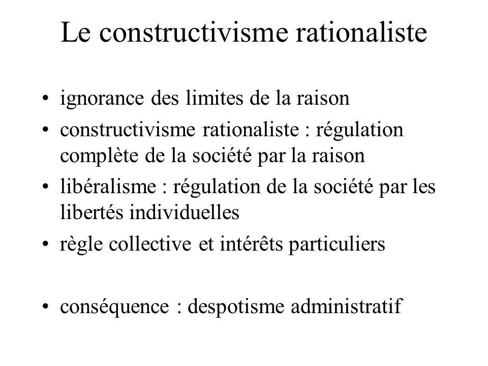 Le constructivisme rationaliste ignorance des limites de la raison constructivisme rationaliste : régulation complète de la société par la raison libéralisme : régulation de la société par les libertés individuelles règle collective et intérêts particuliers conséquence : despotisme administratif