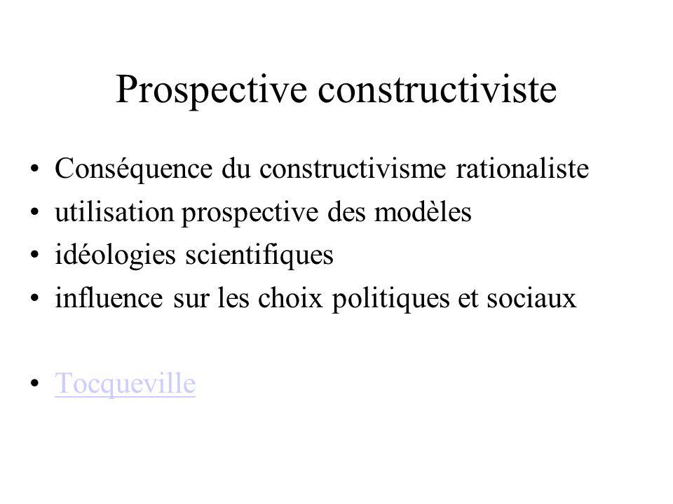 Prospective constructiviste Conséquence du constructivisme rationaliste utilisation prospective des modèles idéologies scientifiques influence sur les choix politiques et sociaux Tocqueville
