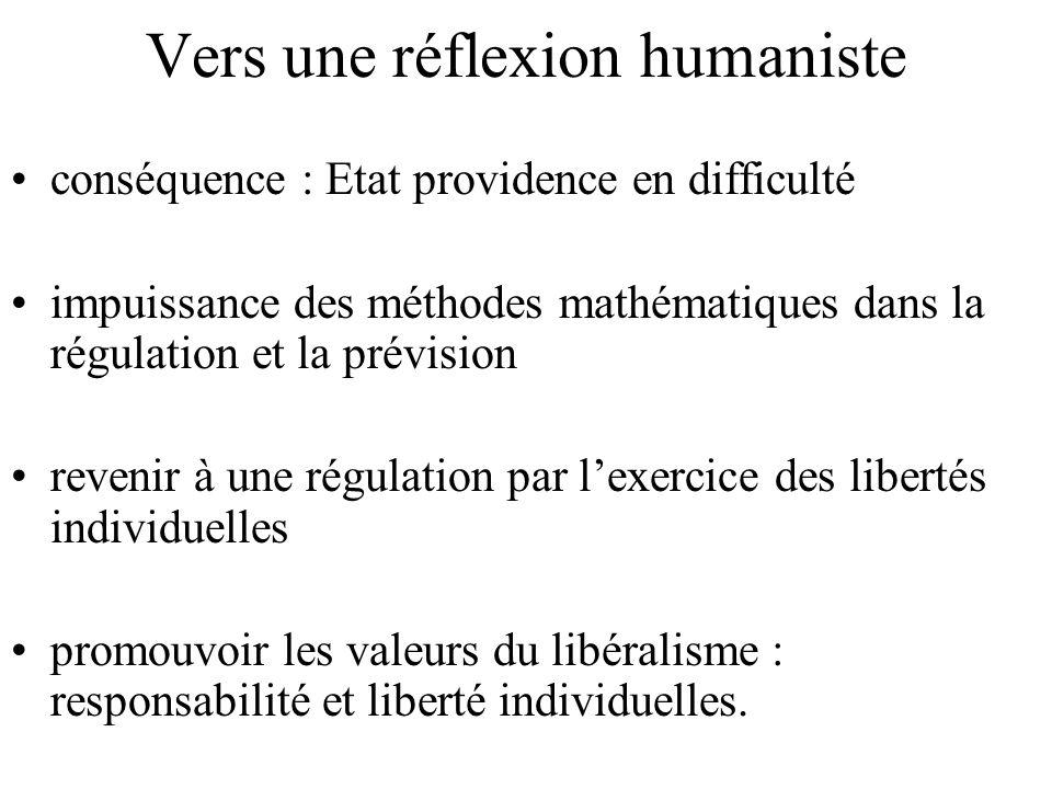 Vers une réflexion humaniste conséquence : Etat providence en difficulté impuissance des méthodes mathématiques dans la régulation et la prévision revenir à une régulation par lexercice des libertés individuelles promouvoir les valeurs du libéralisme : responsabilité et liberté individuelles.